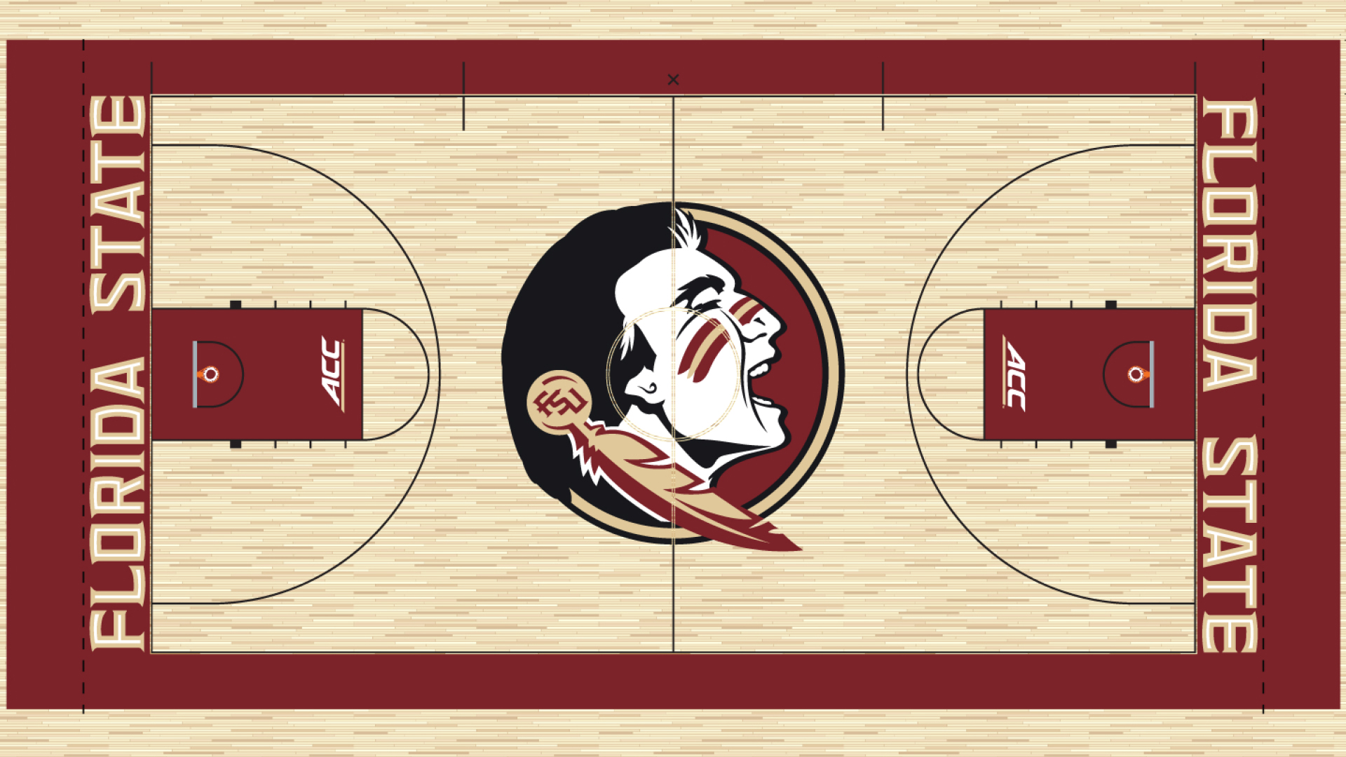 Basketballcourt Widescreen Football 6 WidescreenFootball2 Seminole Head Garnet