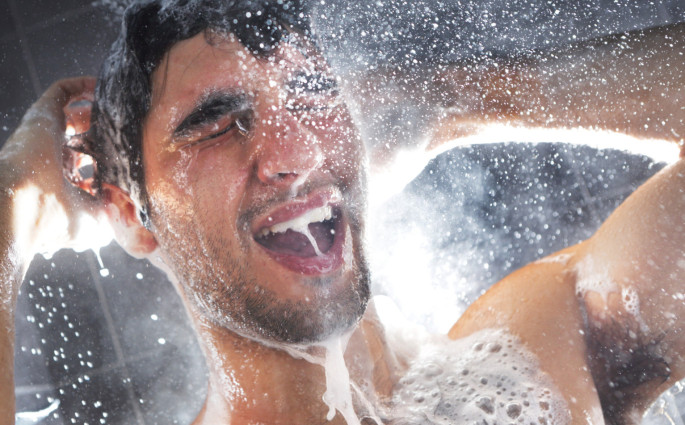 men taking shower