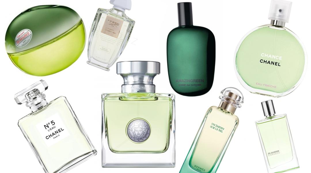 Výběr zelených parfémů inspirovaných barvou Greenery