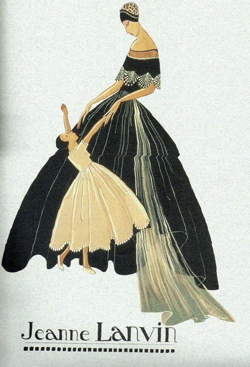 Jeanne Lanvin v plesové róbě - skica ikonického loga