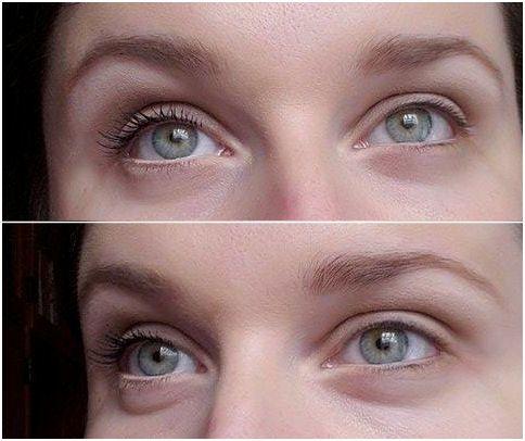 riasenka Max Factor je na pravom oku (vľavo), riasy na druhom ostali nenalíčené pre porovnanie