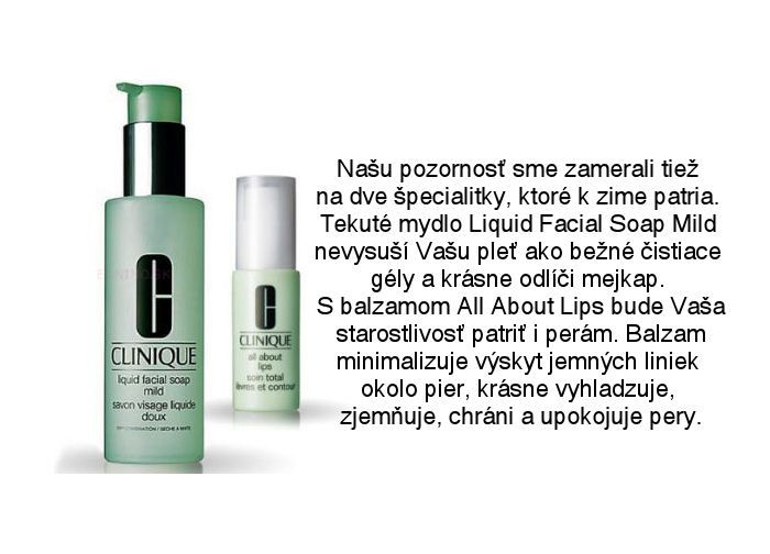 Clinique jemné pleťové tekuté mýdlo Liquid Facial Soap Mild a balzam na pery All About Lips na Elnino.sk