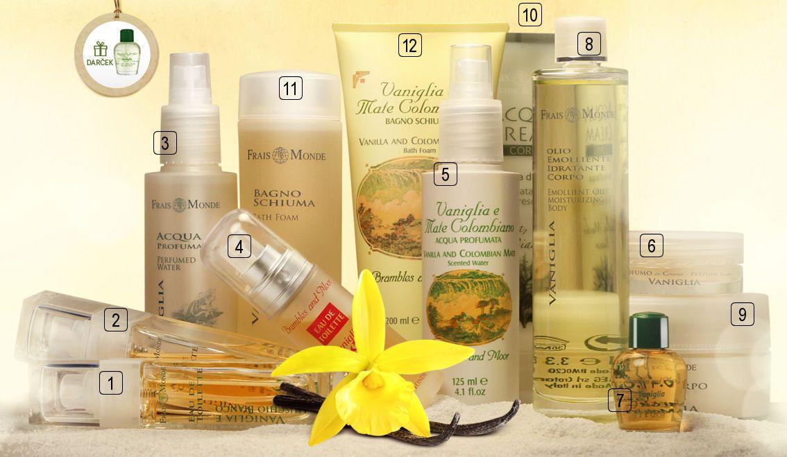 Parfumovaný olej s vôňou vanilky dostanete ako darček k vanilkovej kozmmetike Frais Monde