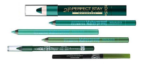 zelená na oči - farebné zelené očné linky