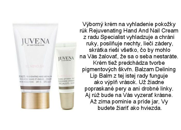 Juvena Specialist omladzujúci krém na ruky a nechty a Juvena Specialist Delining balzam na pery proti vráskam z Elnino.sk
