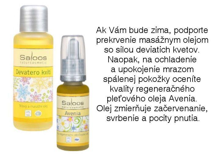 Saloos oleje - telový a masážny olej Deväť Kvetov a regeneračný pleťový olej Avenia z ponuky Elnino.sk