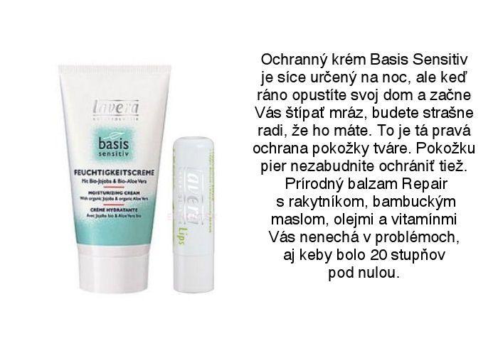 Lavera ochranný krém na tvár Basis Sensitiv a balzam pery Repair v tyčinke z ponuky obchodu Elnino.sk