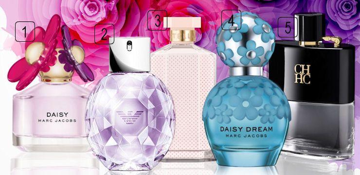 nové parfumy pre dámy od značiek Marc Jacobs, Armani, Stella McCartney a pánsky parfum Carolina Herrera, všetky dostupné v obchode Elnino.sk