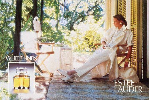 Reklama na Estée Lauder White Linen (1986), zdroj: http://bit.ly/1Fxrmnr