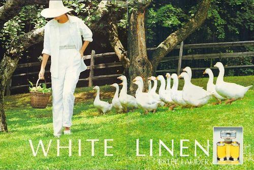 Reklama na Estée Lauder White Linen (1993), zdroj: http://bit.ly/17hal28