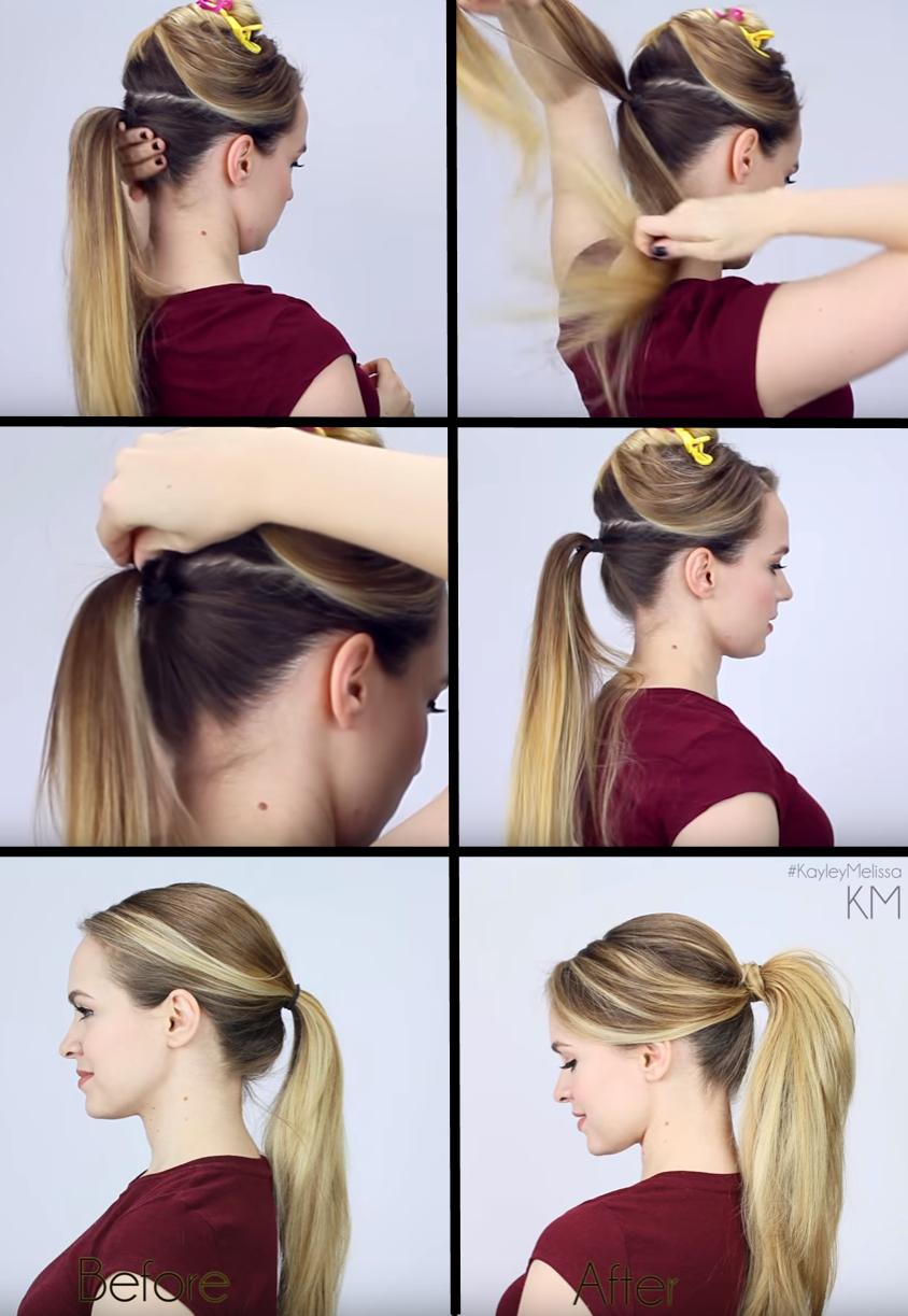Ako vyčariť dokonalý konský chvosť s pomocou Linziclip, Zdroj: Youtube / Kayley Melissa, cit. 16. 1. 2015; https://goo.gl/mlmQyx