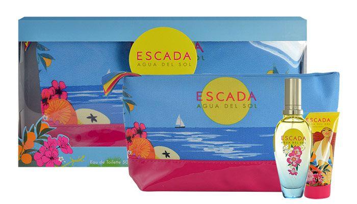 Kozmetická taštička s Escada Agua del Sol EdT a telovým mliekom