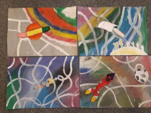 Obrázky dětí na motivy knihy Písečníci a bludný asteroid, Festival dětského čtenářství
