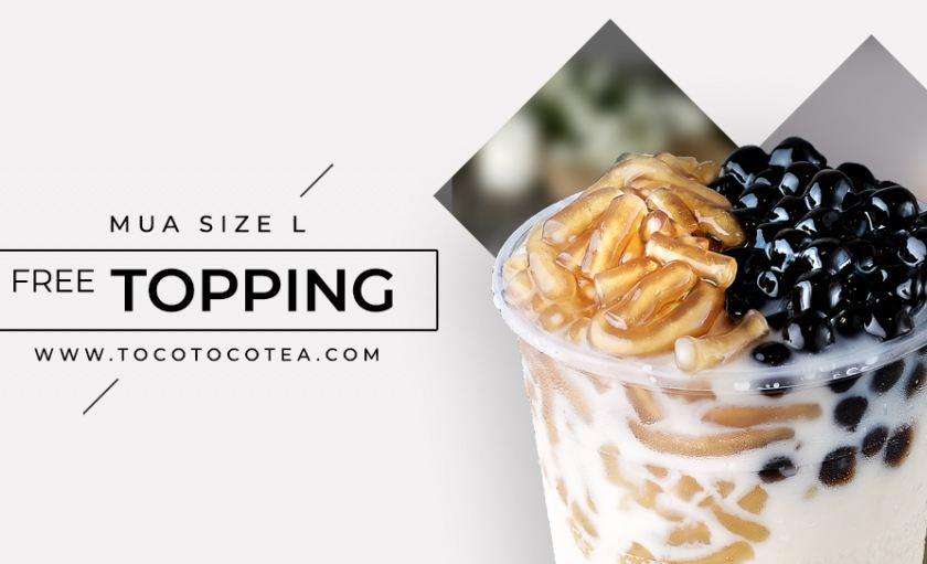 TocoToco Miễn Phí Topping khi mua size L