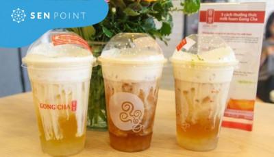 Trà nguyên chất milk foam menu Gong Cha