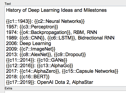 History of Deep Learning, Cloze