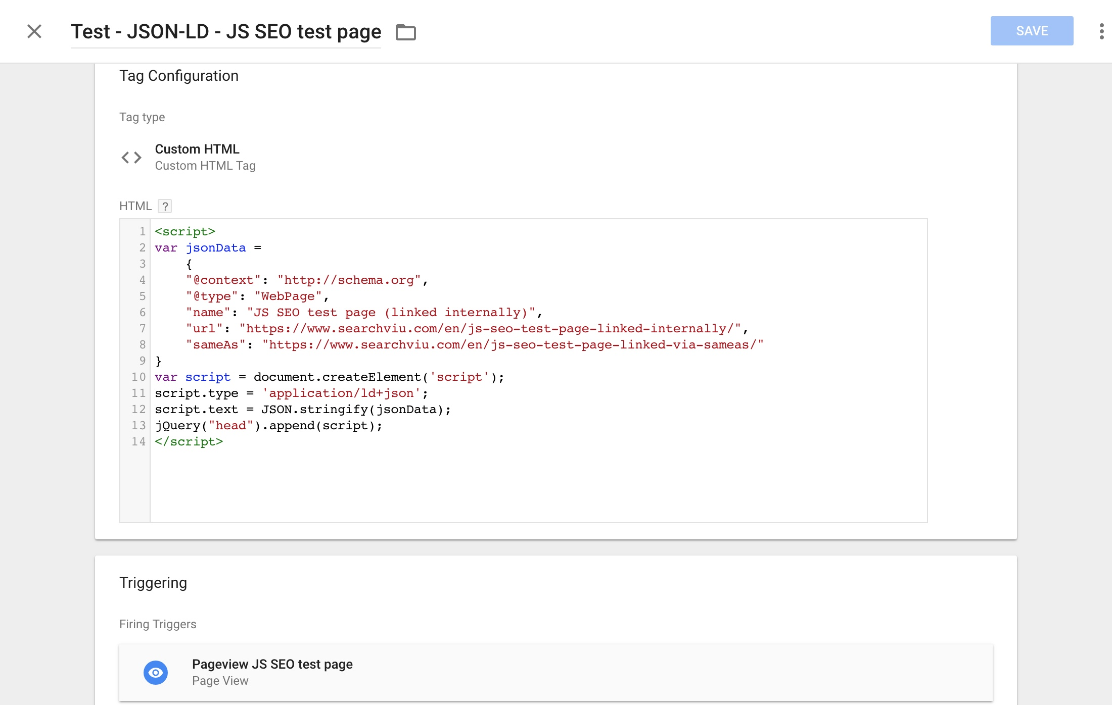 the json-ld test setup in google tag manager