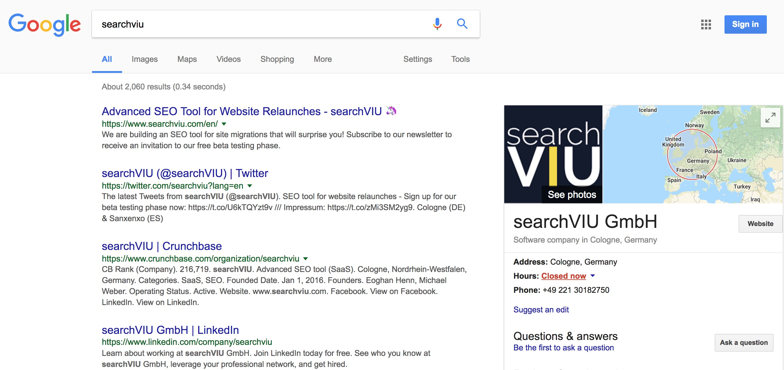 google result for searchviu