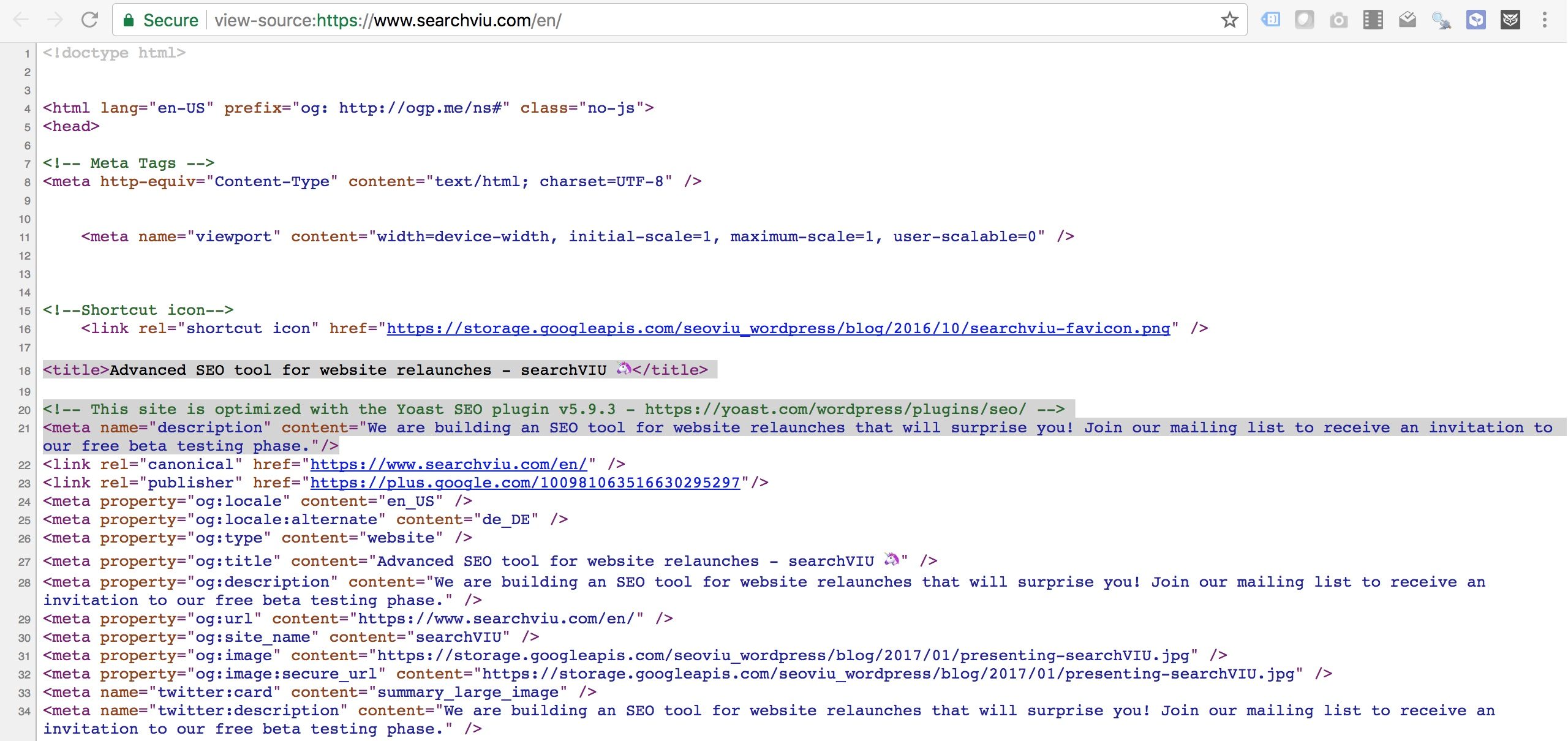 title tag an meta description in the html source doc