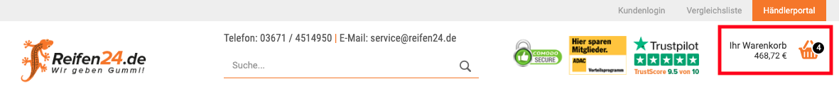 Dynamic shopping cart preview on reifen24.de