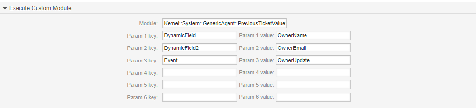 Configuration of the fields for previous owner