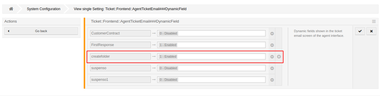 Config dynamic field email