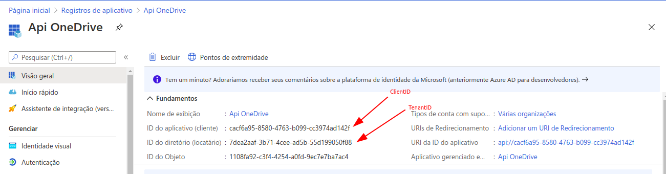 Parameters App OneDrive