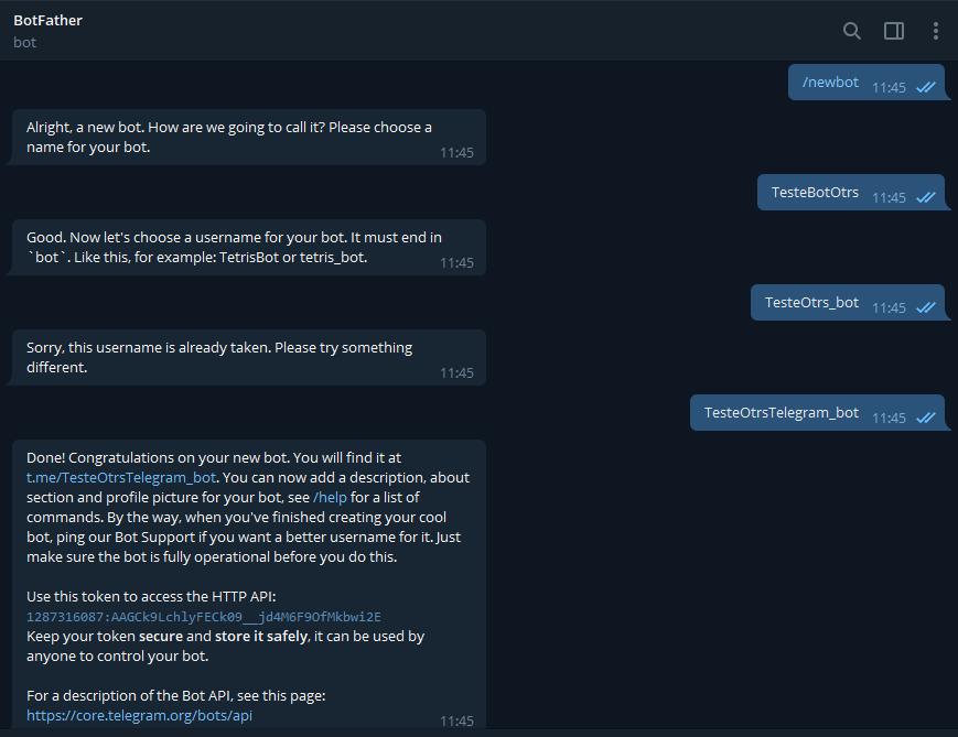 Create Bot on telegram