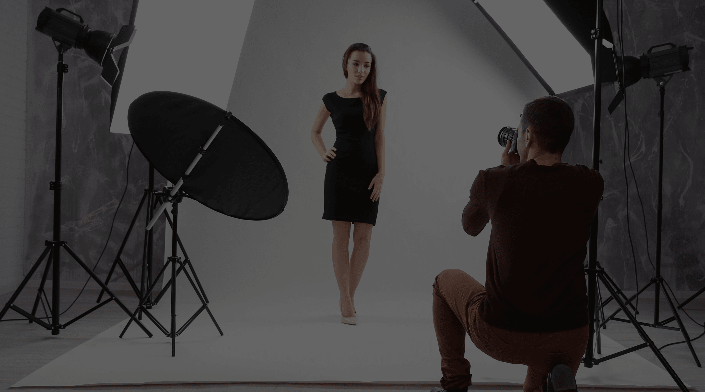 Man clicking a picture of woman in photo studio