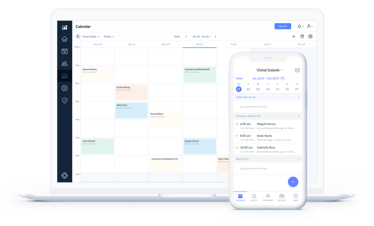 Setmore calendar open on mobile and laptop devices