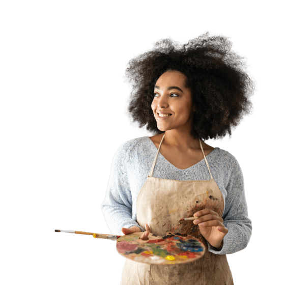 A woman painter with curly hair