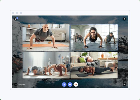 Clase virtual de fitness en Teletransporte