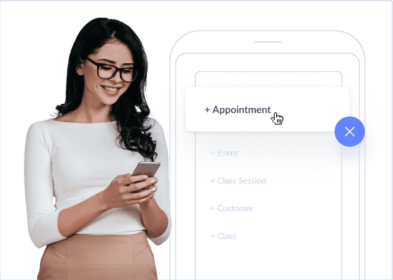 smiling lady booking appointment on mobile