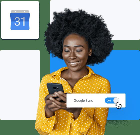 Curly hair girl sync setmore with google calendar