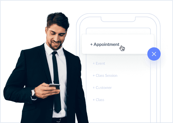 Man in suit book appointment setmore with one tap