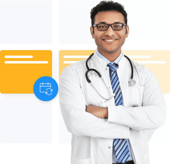 Smiling doctor using Setmore book regular patients