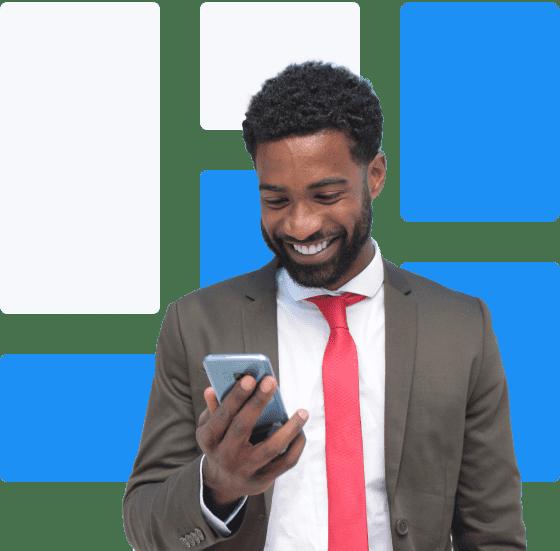 Curly hair man smiling scheduling virtual meeting