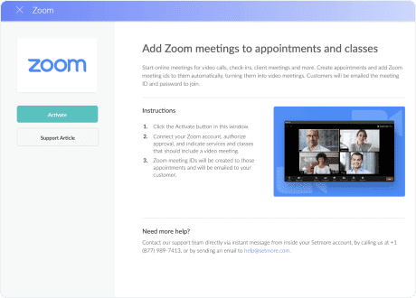 activate zoom using setmore integrations