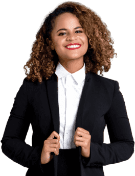 Smiling Setmore customer in a black coat