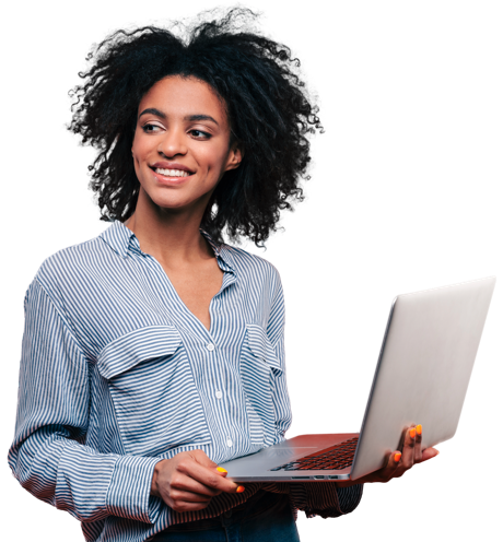 A woman holding a laptop with dimple smiling face