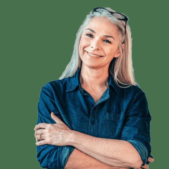 Smiling Setmore customer with blonde hair