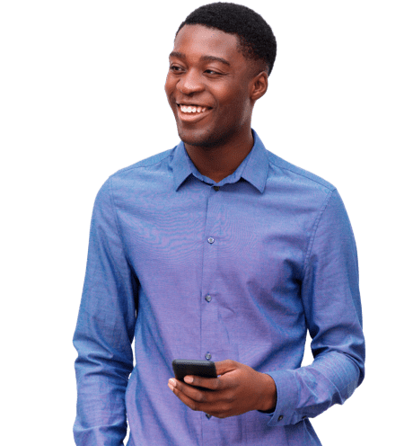 Smiling man checking Setmore appointments