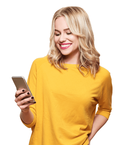 A smiling woman using appointment app on mobile
