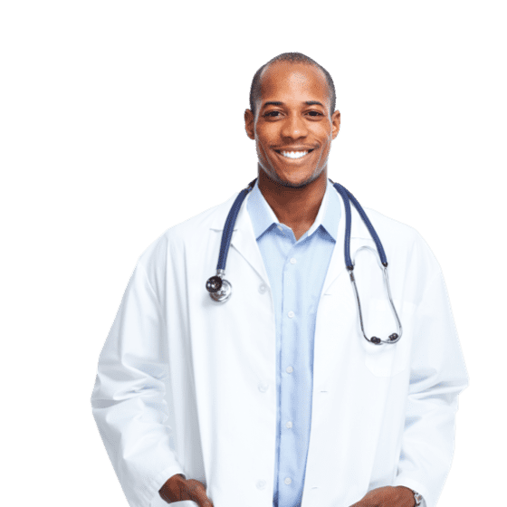 smiling doctor using setmore to book appointments