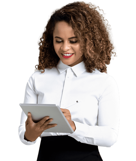 A woman in curls is standing with iPad