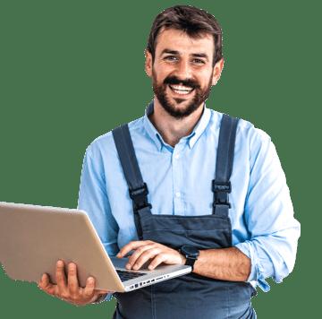 home repair man using laptop