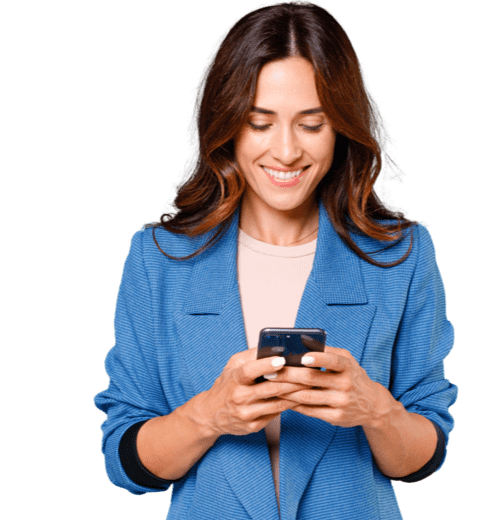 Woman in blue blazer operating her mobile