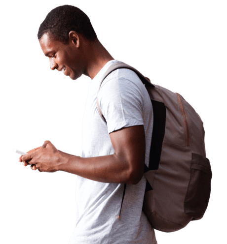 Smiling man with bag looking at mobile