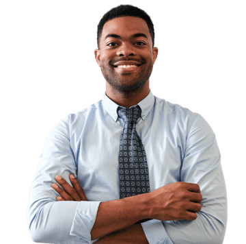 A smiling man with folding hands