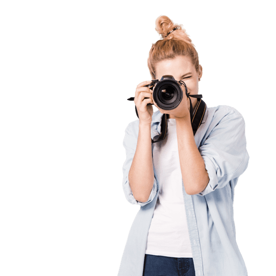 A woman with camera on her face